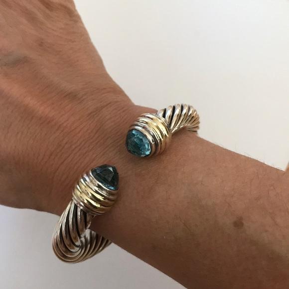 b2bedc46d5b83 David Yurman Jewelry - David Yurman 10mm Sterling 14k Blue Topaz Bracelet